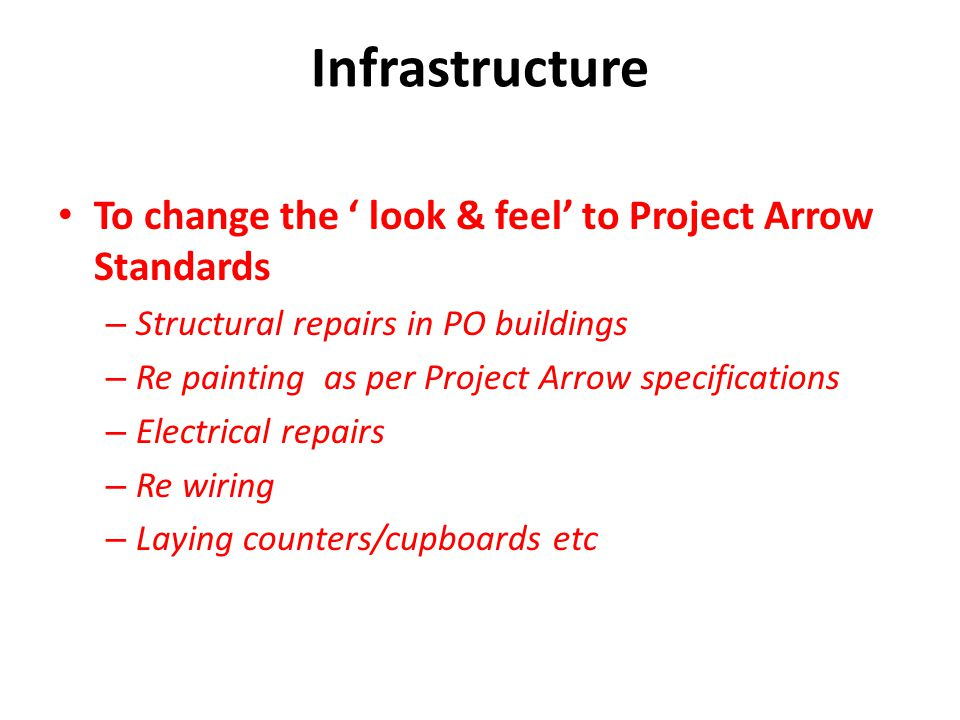 Infrastructure To change the ' look & feel' to Project Arrow Standards