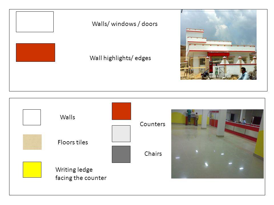 Walls/ windows / doors Wall highlights/ edges. Walls. Counters. Floors tiles. Chairs. Writing ledge.