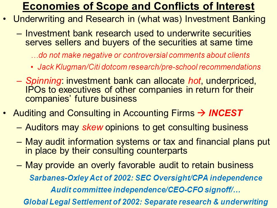 Economies of Scope and Conflicts of Interest