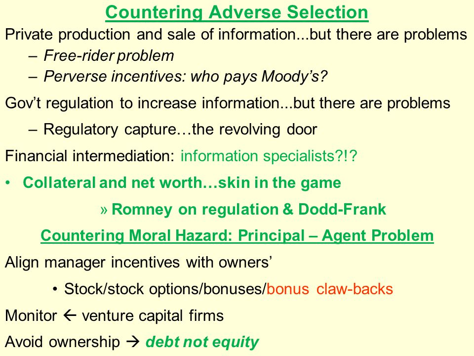 Countering Adverse Selection
