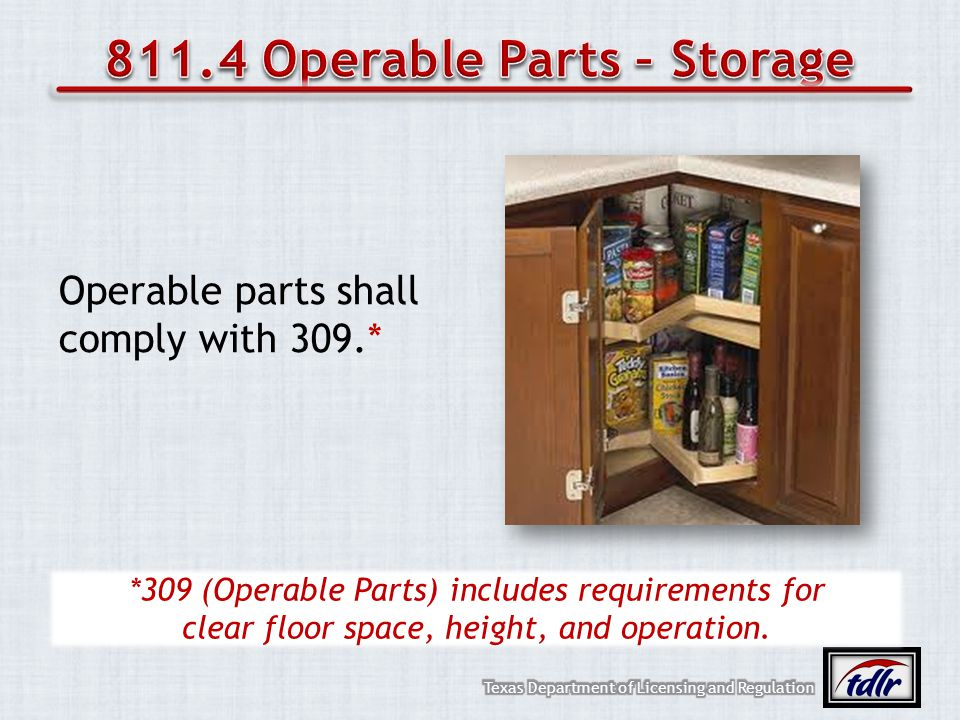 811.4 Operable Parts – Storage