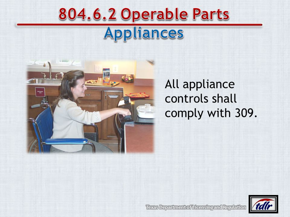 804.6.2 Operable Parts Appliances