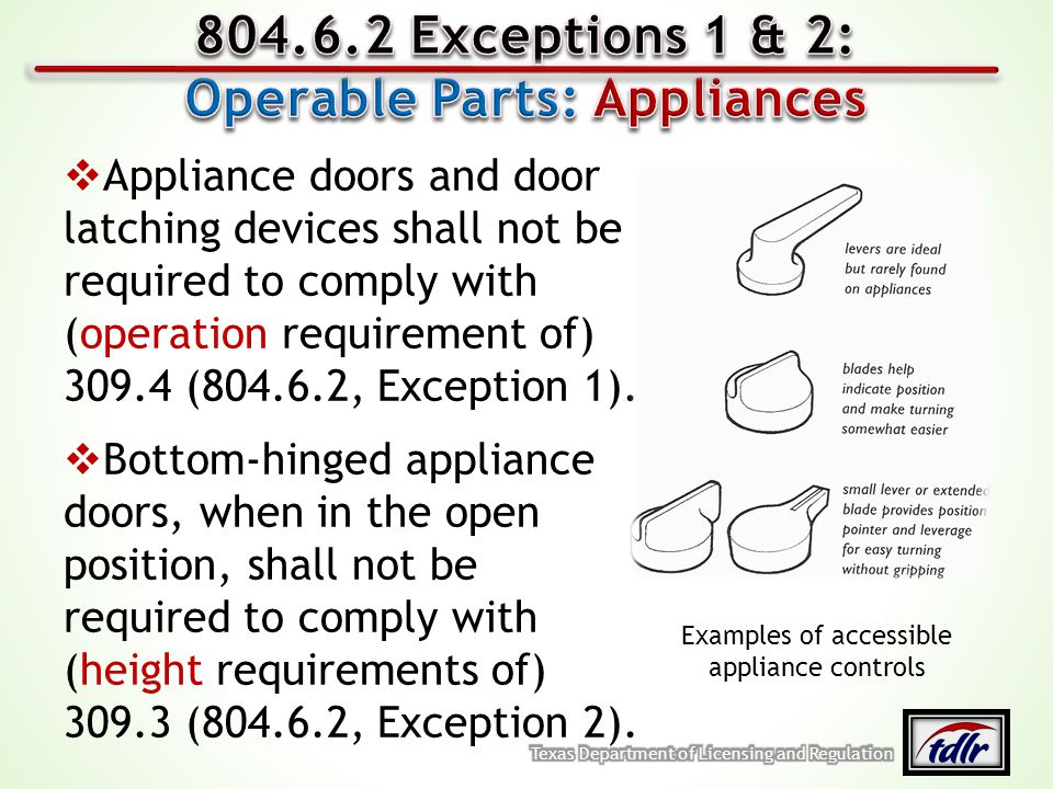 Operable Parts: Appliances