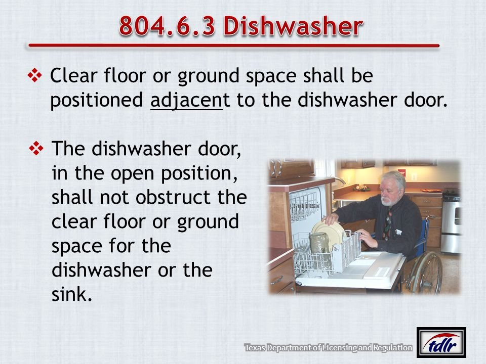 804.6.3 Dishwasher Clear floor or ground space shall be positioned adjacent to the dishwasher door.