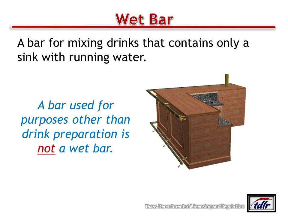 A bar used for purposes other than drink preparation is not a wet bar.