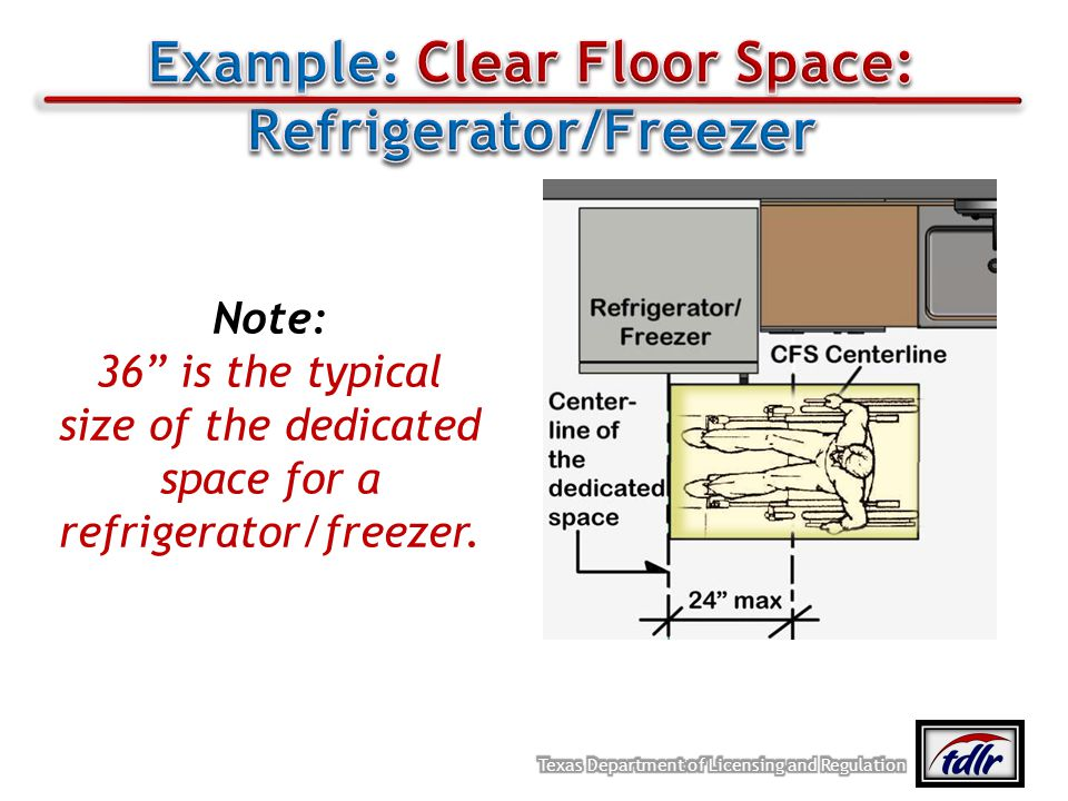 Example: Clear Floor Space: Refrigerator/Freezer