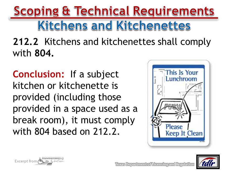 Scoping & Technical Requirements Kitchens and Kitchenettes