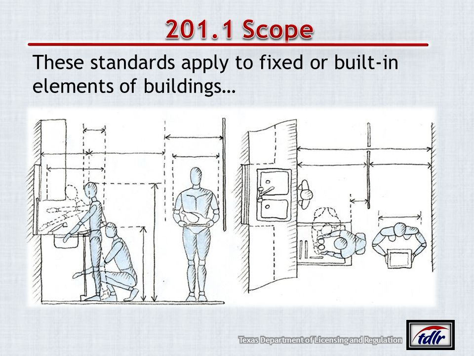 201.1 Scope These standards apply to fixed or built-in elements of buildings…