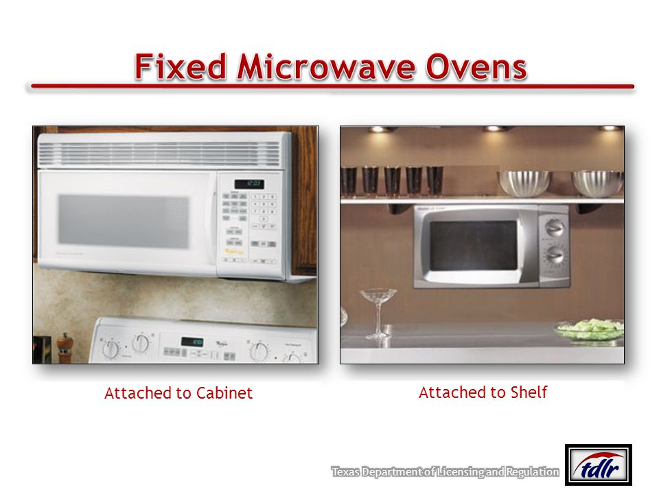 Fixed Microwave Ovens Attached to Cabinet Attached to Shelf