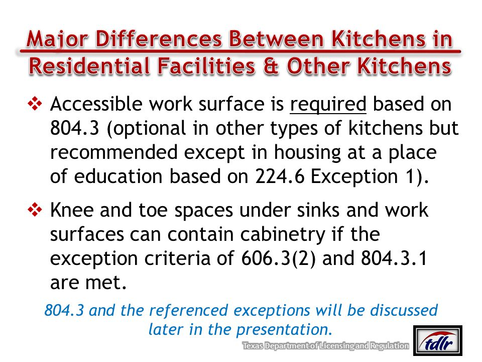 Major Differences Between Kitchens in Residential Facilities & Other Kitchens
