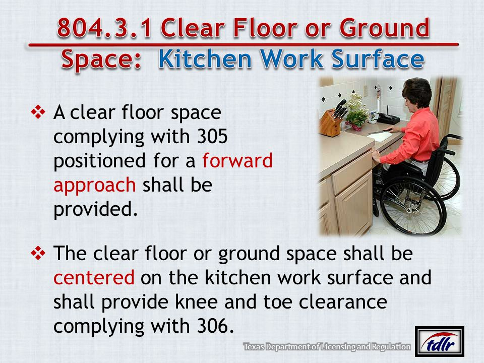 804.3.1 Clear Floor or Ground Space: Kitchen Work Surface
