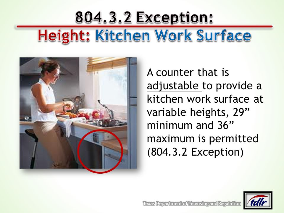 Height: Kitchen Work Surface