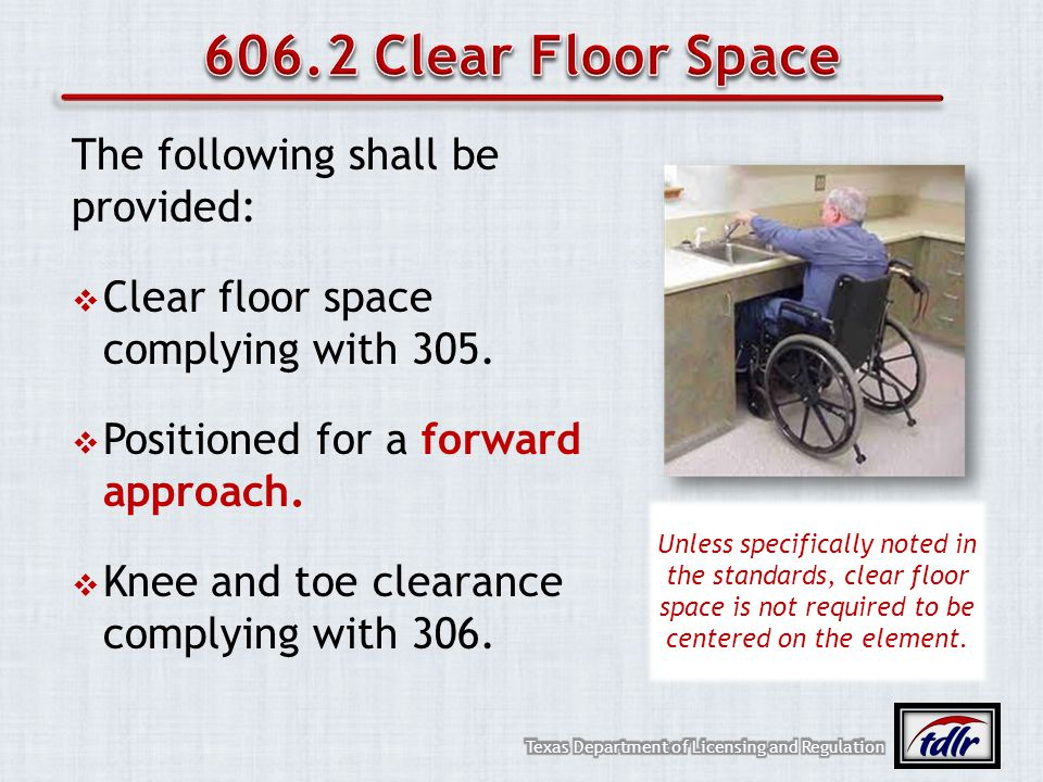 606.2 Clear Floor Space The following shall be provided: