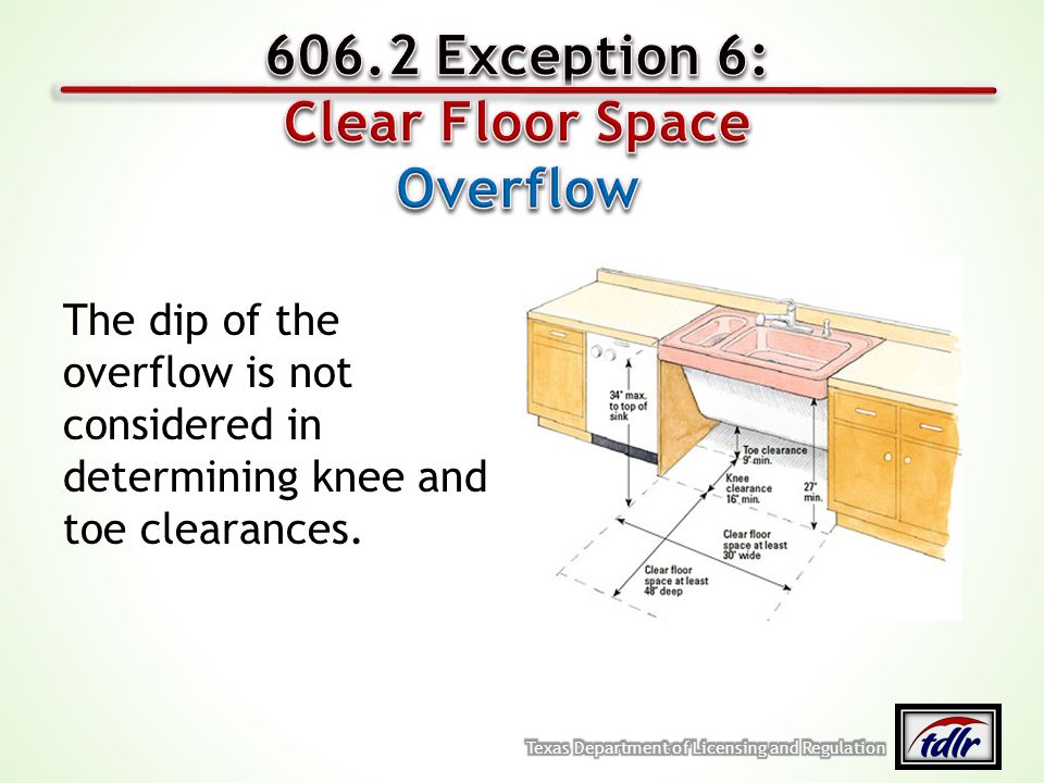 606.2 Exception 6: Clear Floor Space Overflow