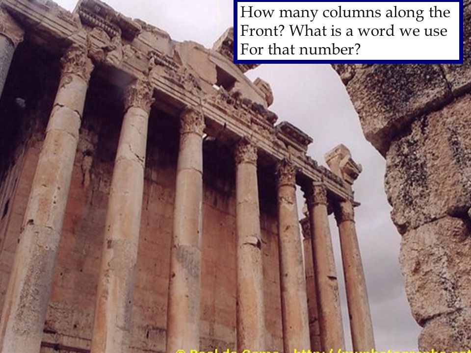 How many columns along the