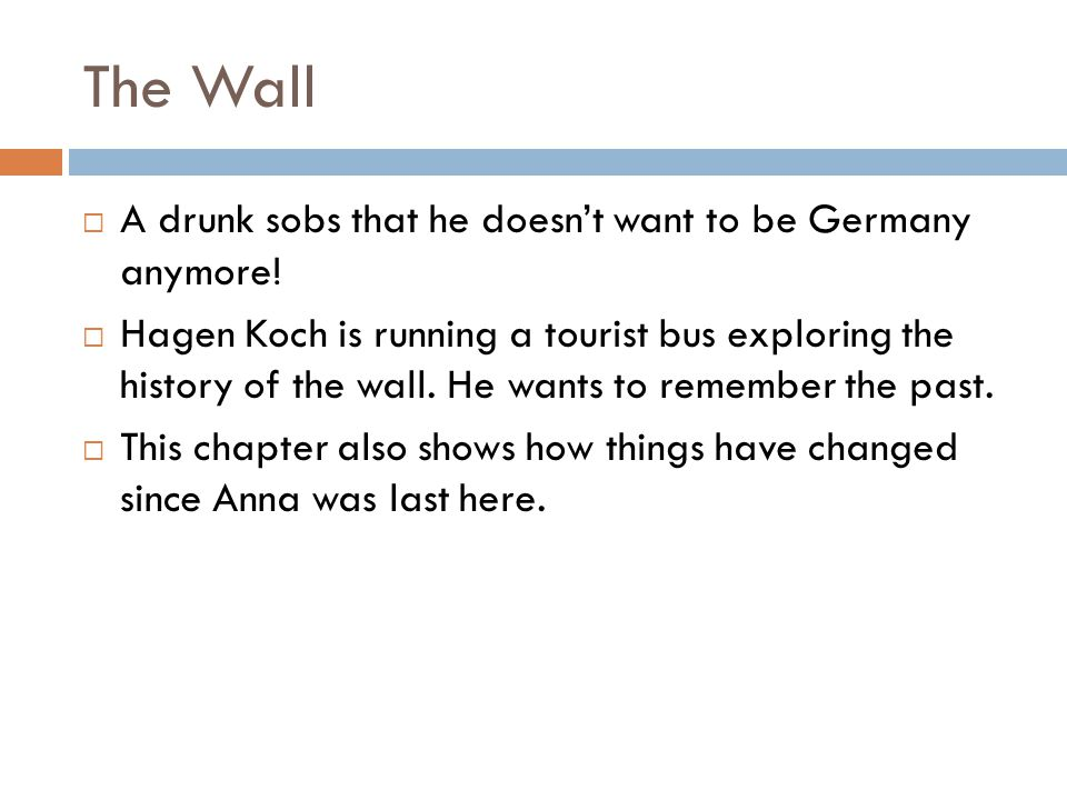 The Wall A drunk sobs that he doesn't want to be Germany anymore!