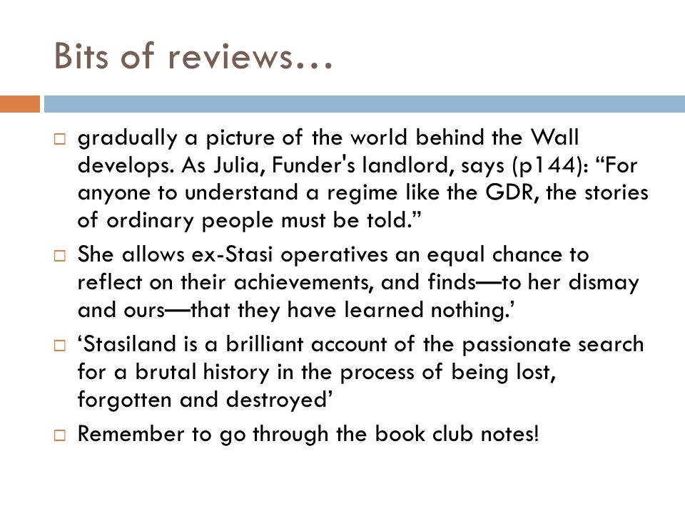 Bits of reviews…