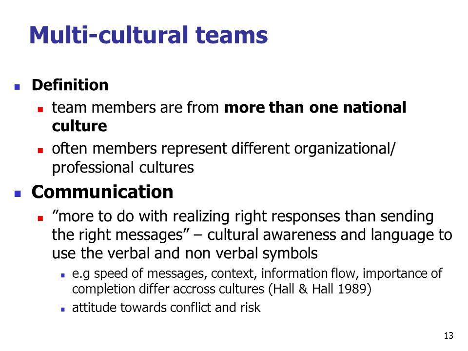 Multi-cultural teams Communication Definition