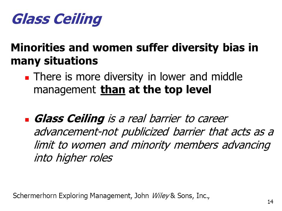 Glass Ceiling Minorities and women suffer diversity bias in many situations.