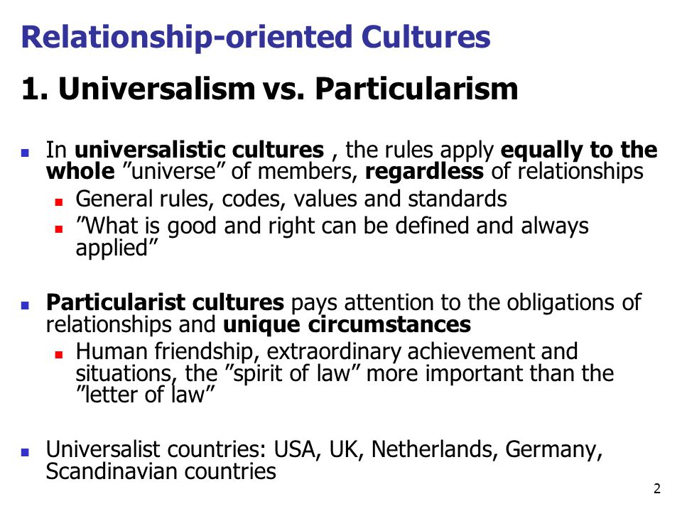 relationship based and rule cultures groups