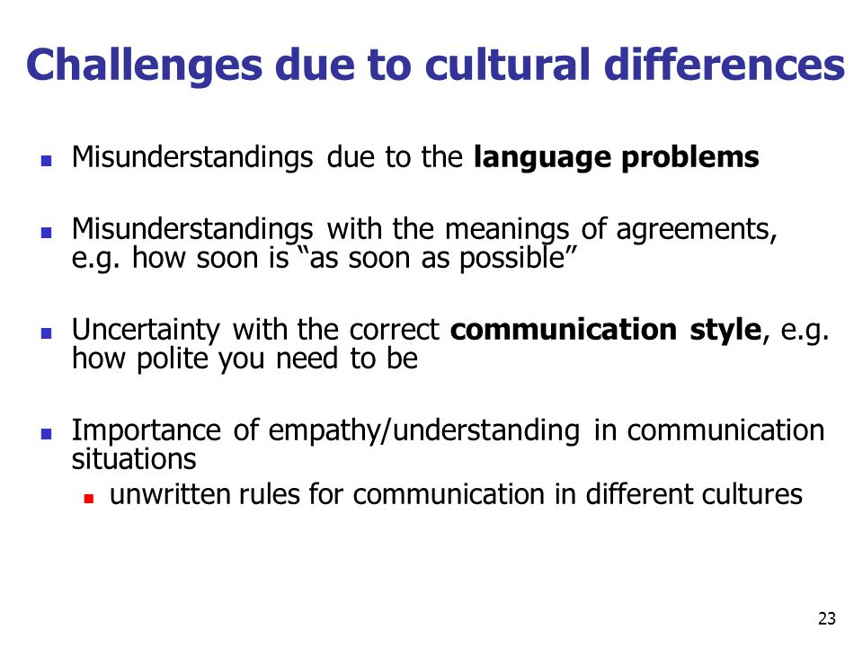 Challenges due to cultural differences
