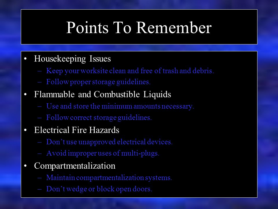 Points To Remember Housekeeping Issues