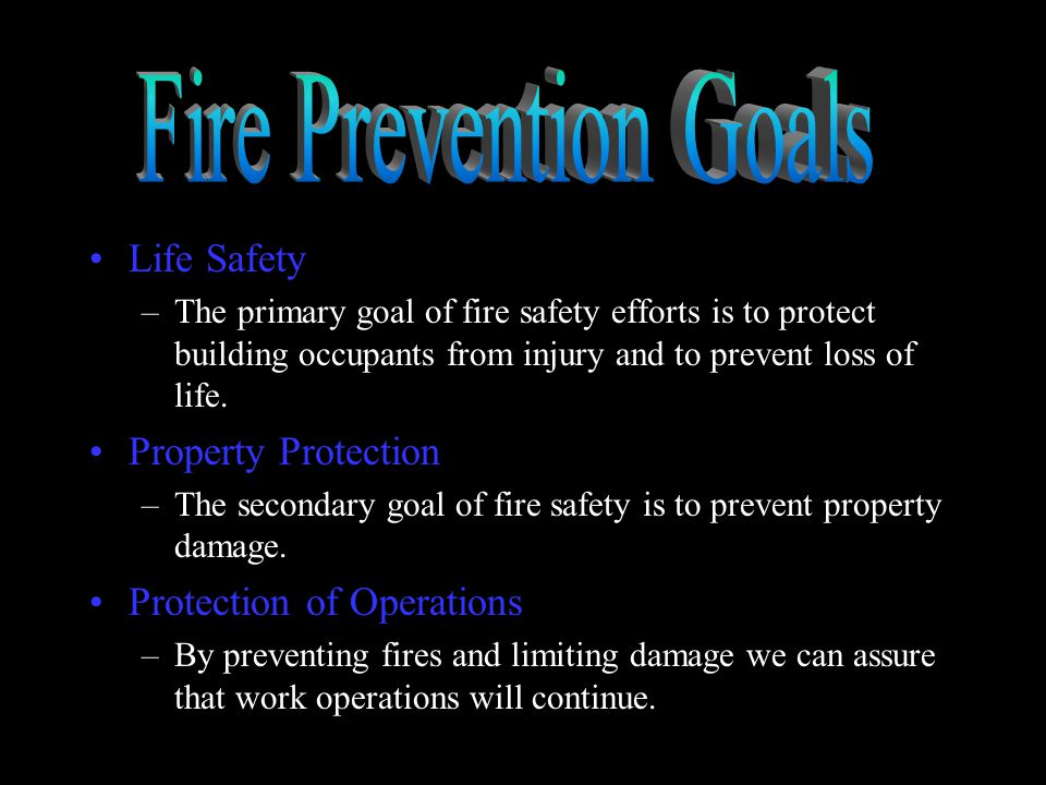 Fire Prevention Goals Life Safety Property Protection