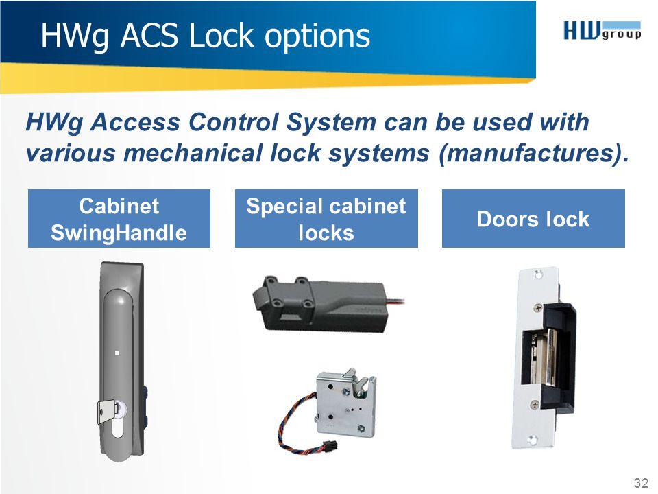 HWg ACS Lock options HWg Access Control System can be used with various mechanical lock systems (manufactures).
