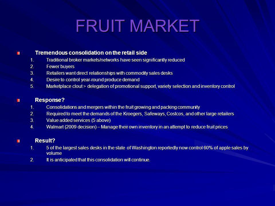 FRUIT MARKET Tremendous consolidation on the retail side Response