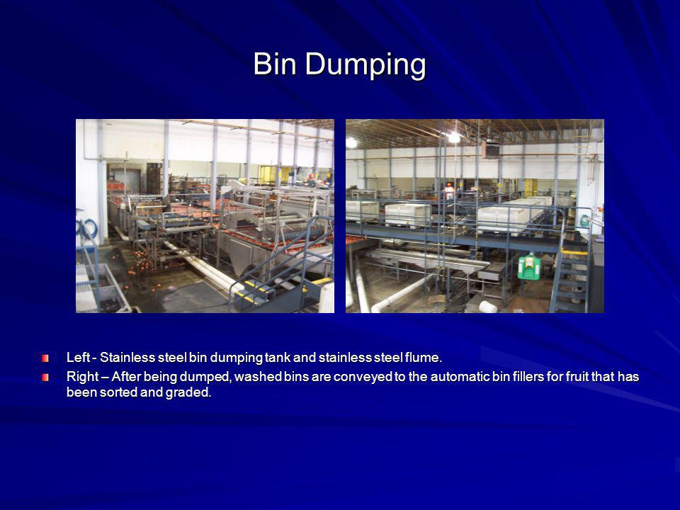 Bin Dumping Left - Stainless steel bin dumping tank and stainless steel flume.