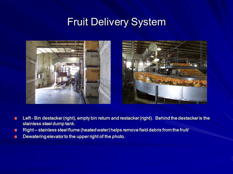Fruit Delivery System Left - Bin destacker (right), empty bin return and restacker (right). Behind the destacker is the stainless steel dump tank.