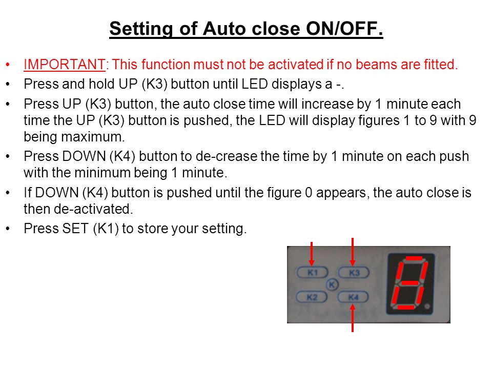 Setting of Auto close ON/OFF.