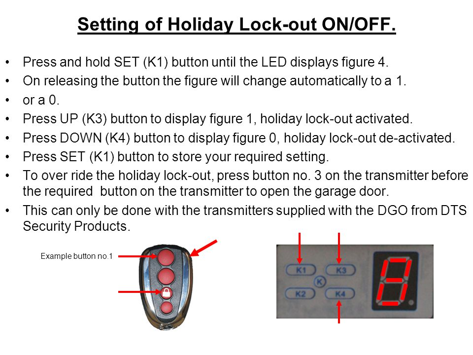 Setting of Holiday Lock-out ON/OFF.