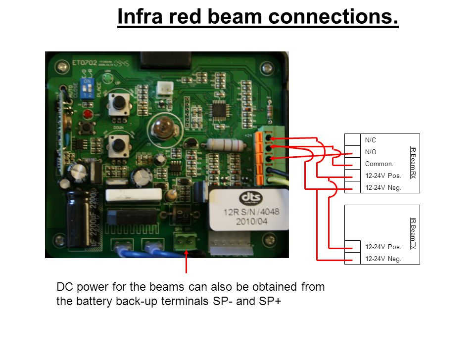 Infra red beam connections.