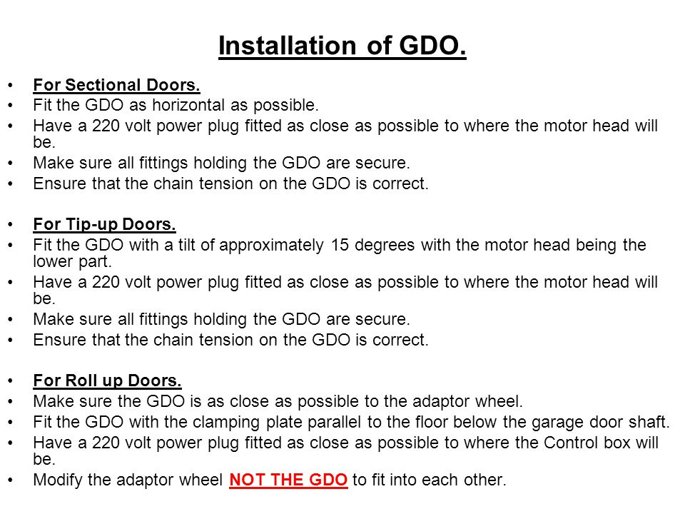 Installation of GDO. For Sectional Doors.