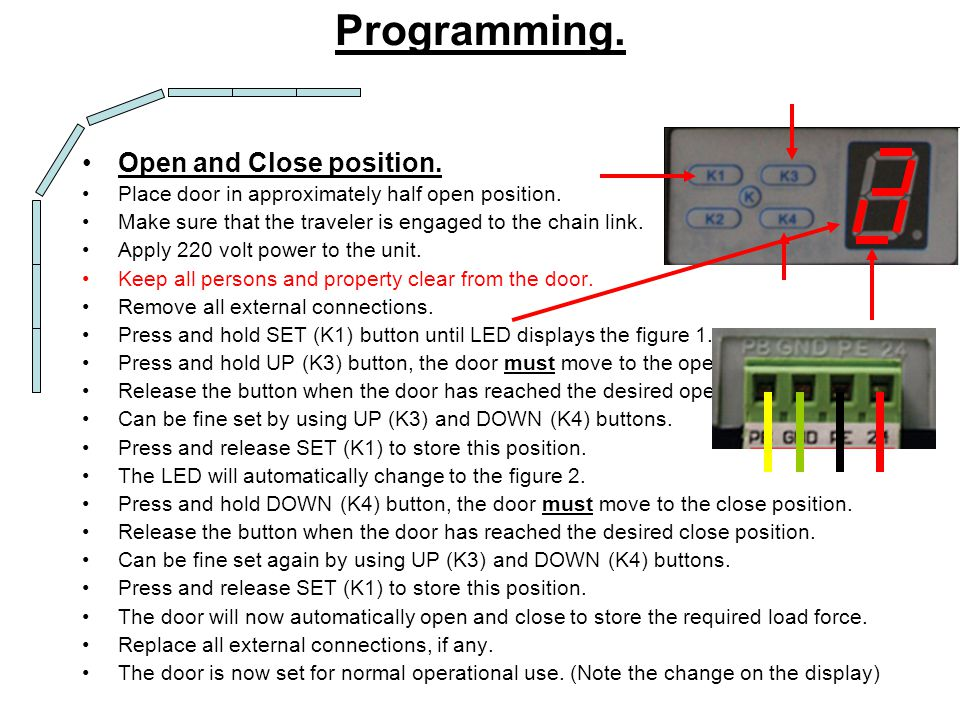 Programming. Open and Close position.