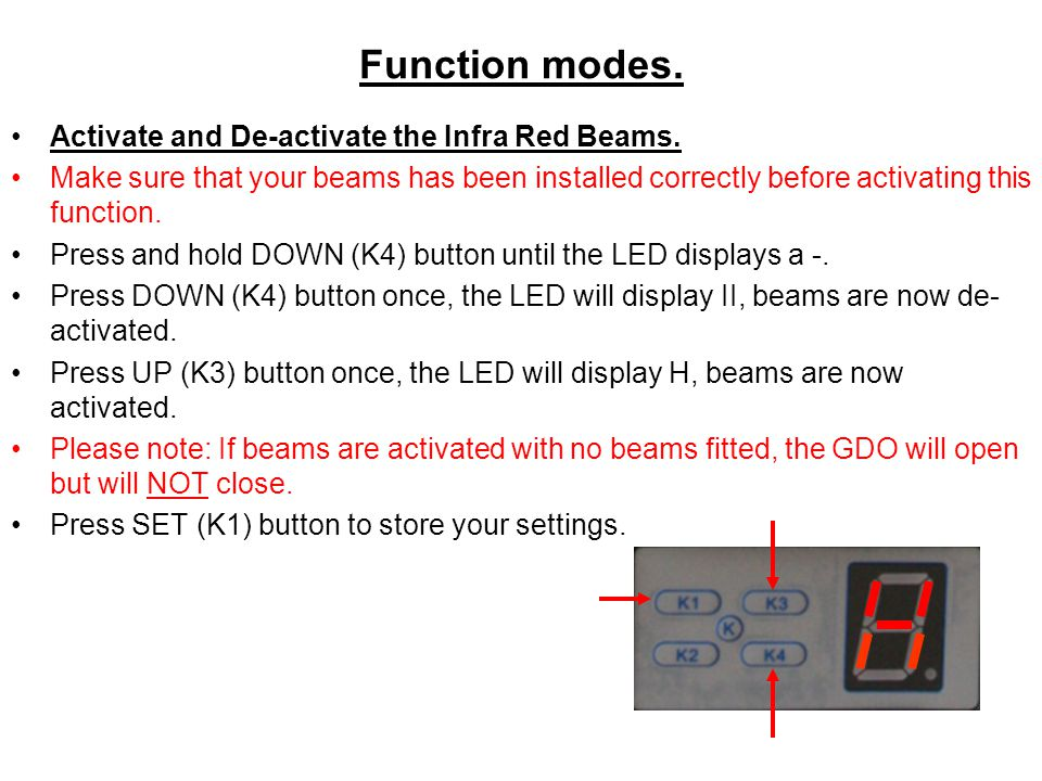 Function modes. Activate and De-activate the Infra Red Beams.