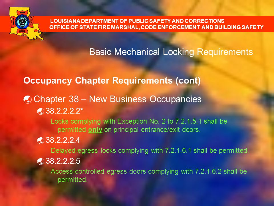 Basic Mechanical Locking Requirements