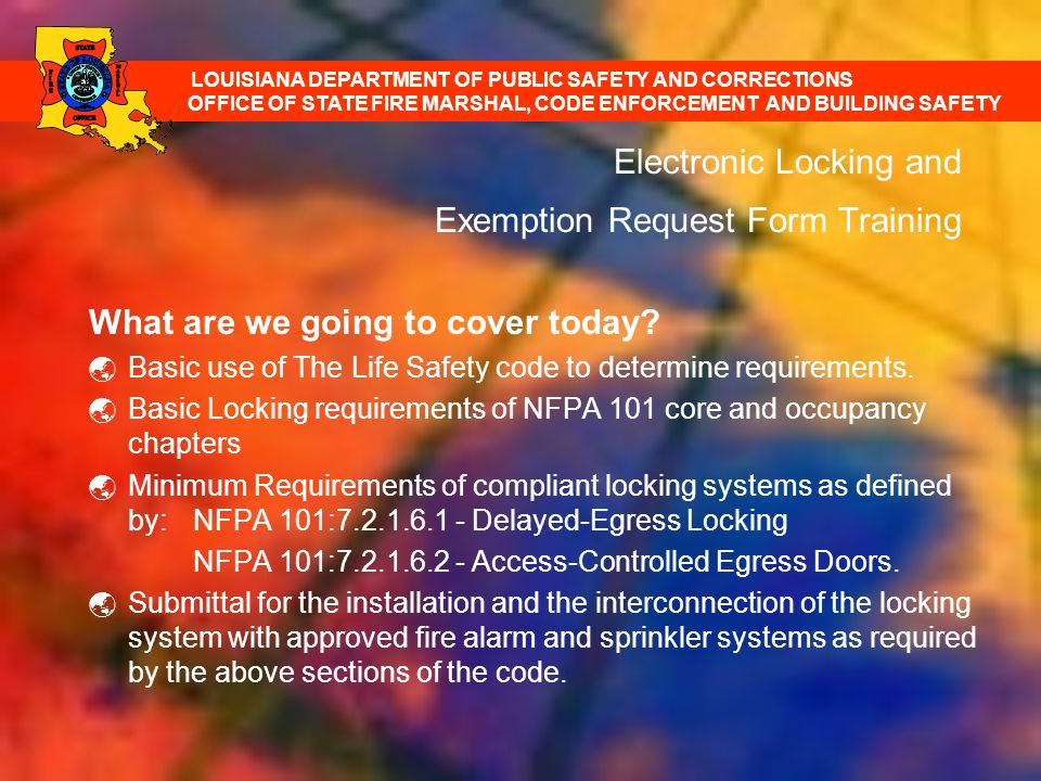 Electronic Locking and Exemption Request Form Training