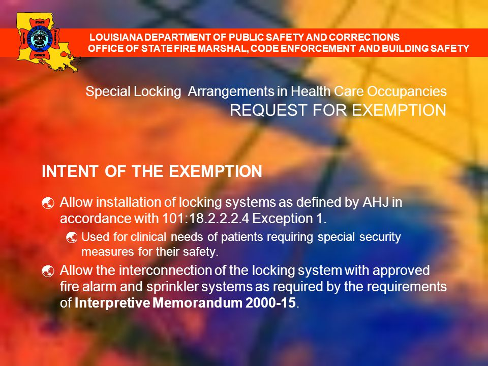 INTENT OF THE EXEMPTION