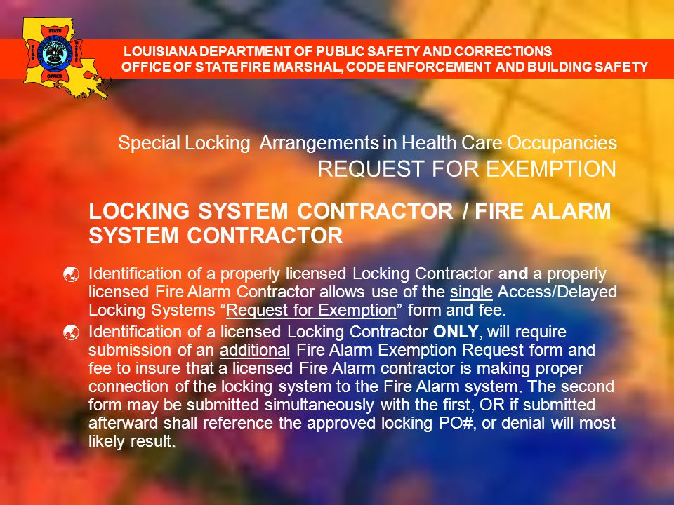 LOCKING SYSTEM CONTRACTOR / FIRE ALARM SYSTEM CONTRACTOR