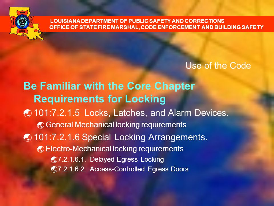 Be Familiar with the Core Chapter Requirements for Locking