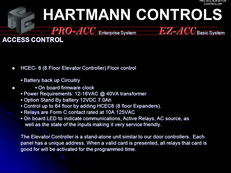 PRO-ACC ELEVATOR CONTROLLER