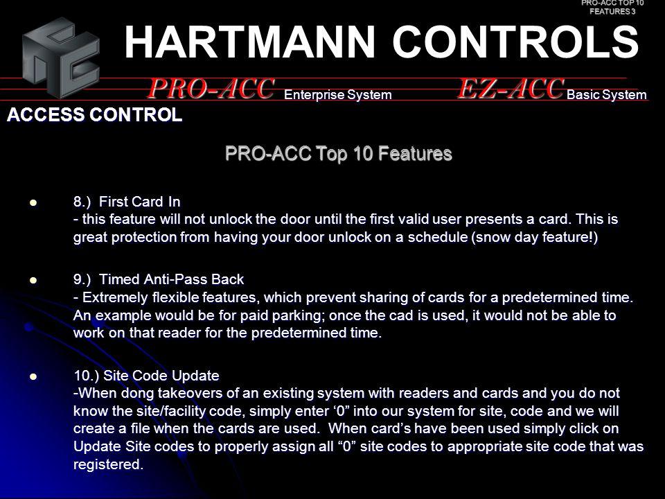 HARTMANN CONTROLS PRO-ACC EZ-ACC ACCESS CONTROL