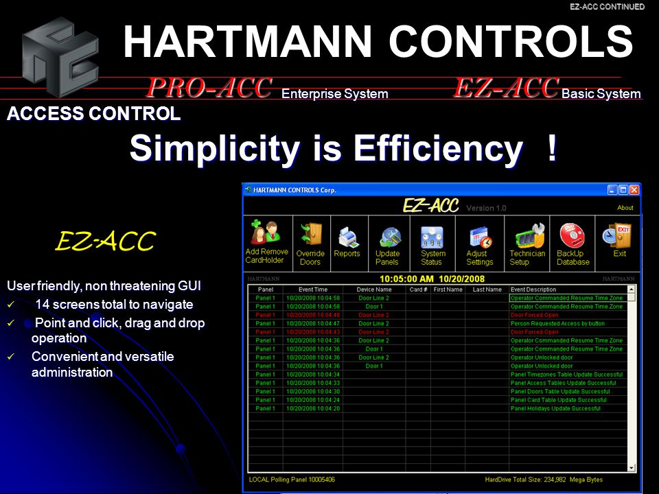 HARTMANN CONTROLS Simplicity is Efficiency ! PRO-ACC EZ-ACC EZ-ACC