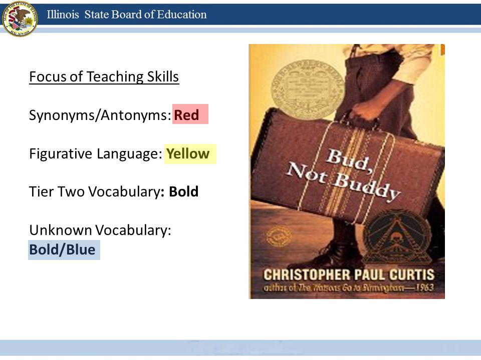 Focus of Teaching Skills Synonyms/Antonyms: Red