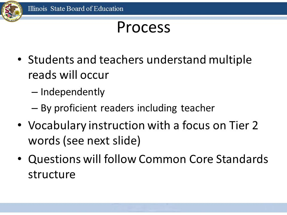 Process Students and teachers understand multiple reads will occur