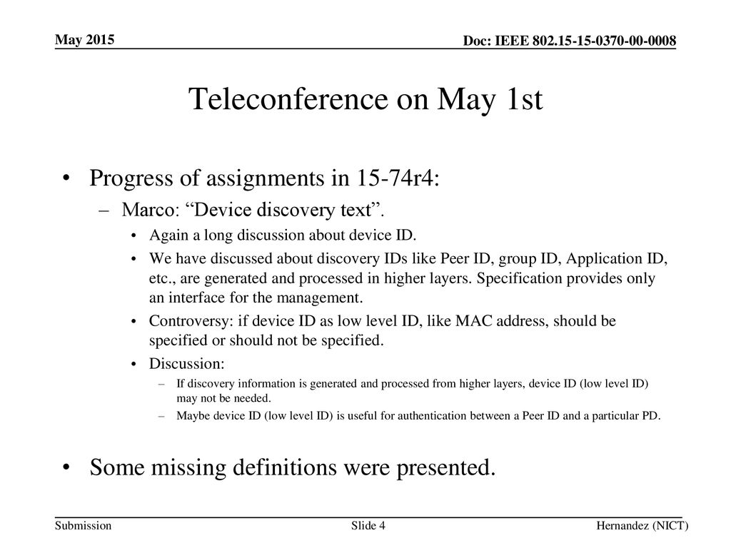 Teleconference on May 1st