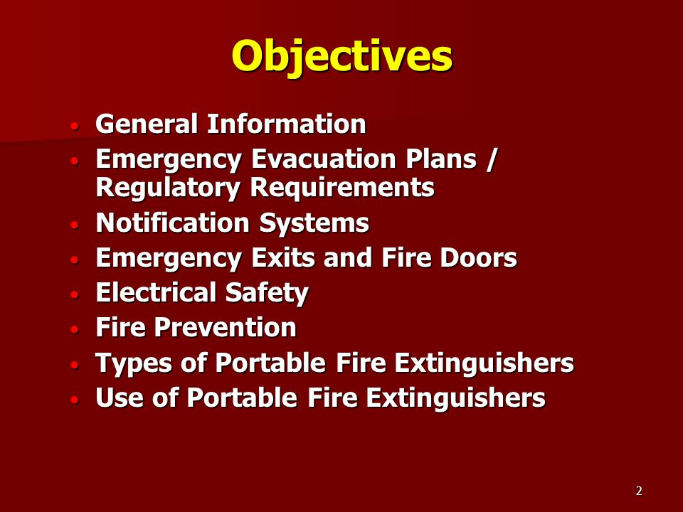 2 Objectives General Information Emergency Evacuation Plans / Regulatory Requirements Notification Systems Emergency Exits ...  sc 1 st  SlidePlayer & FIRE AND LIFE SAFETY TRAINING - ppt video online download pezcame.com