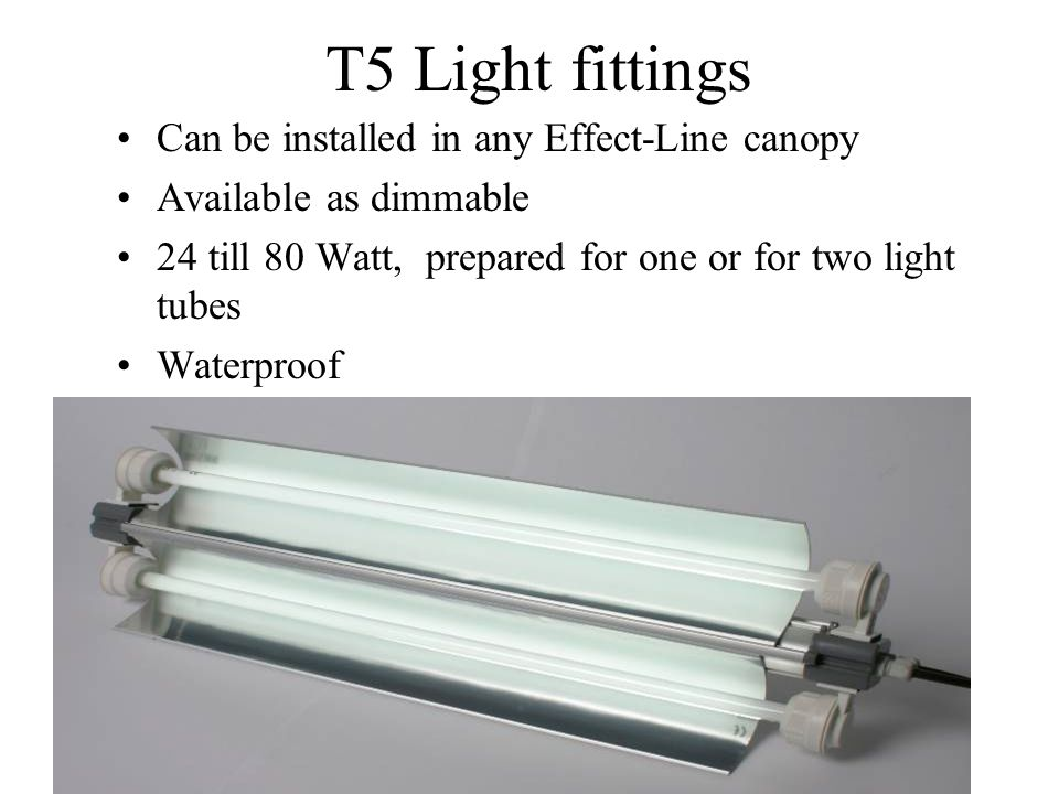 T5 Light fittings Can be installed in any Effect-Line canopy